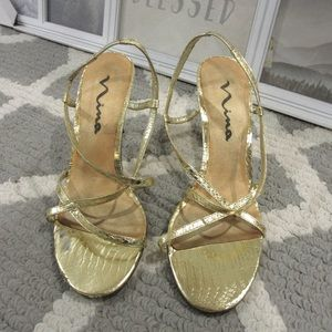 Nina Gold Strappy Sandals/Heels
